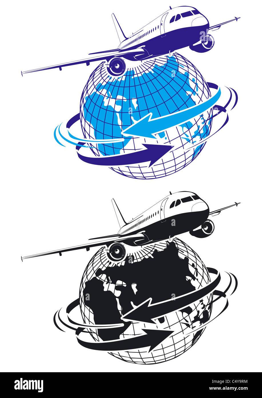 airliner as a logo - Stock Image