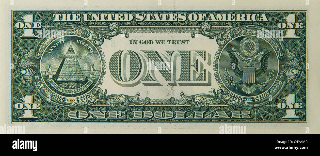 1 one dollar dollars bill note bills notes - Stock Image