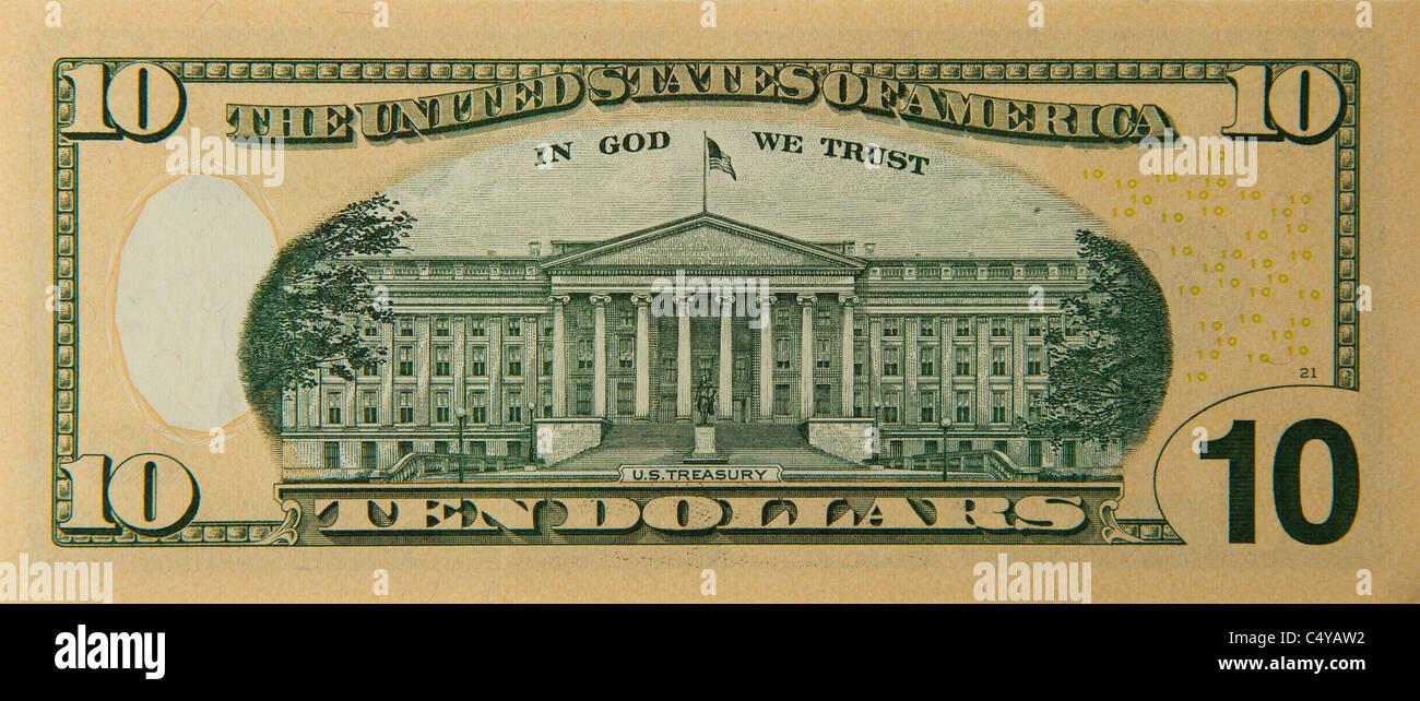 10 ten dollar dollars bill note bills notes - Stock Image