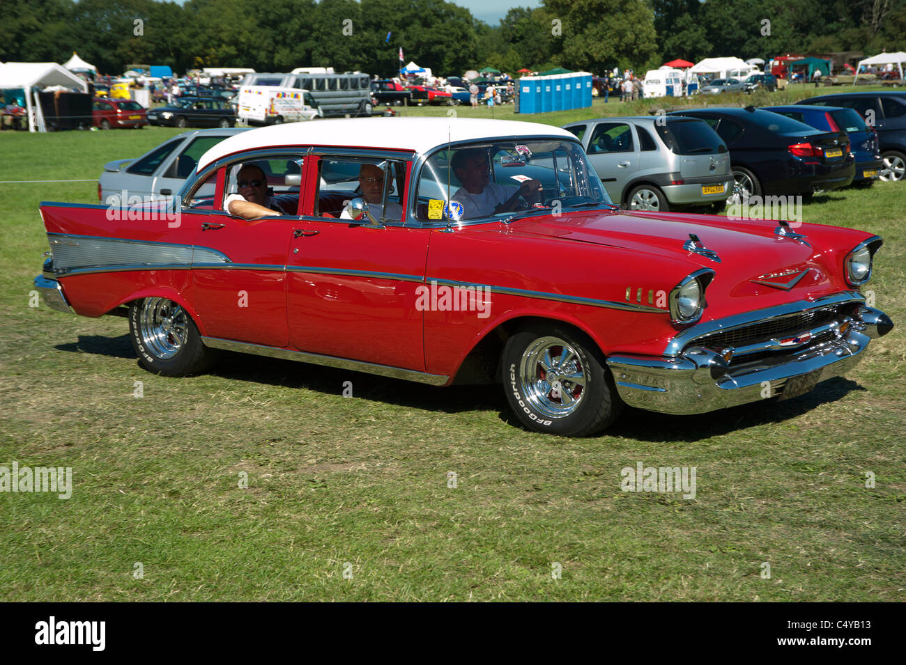 1957 CHEVROLET BEL AIR being driven at car show Stock Photo ...