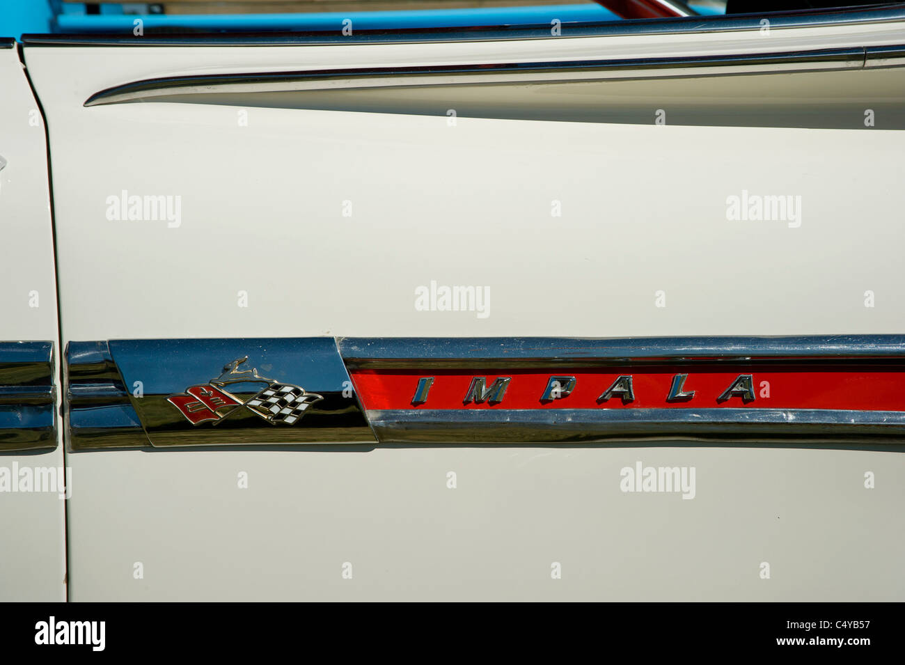 Rear wing of 1959 Chevrolet Impala with badge - Stock Image
