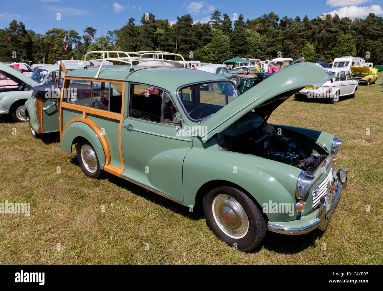 Morris Minor traveller old restored car with matching trailer at Show in Nottinghamshire 2011 - Stock Image