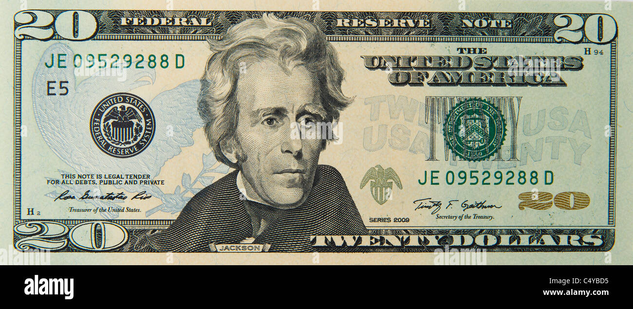 20 Twenty Dollar Dollars Bill Note Bills Notes Stock Image
