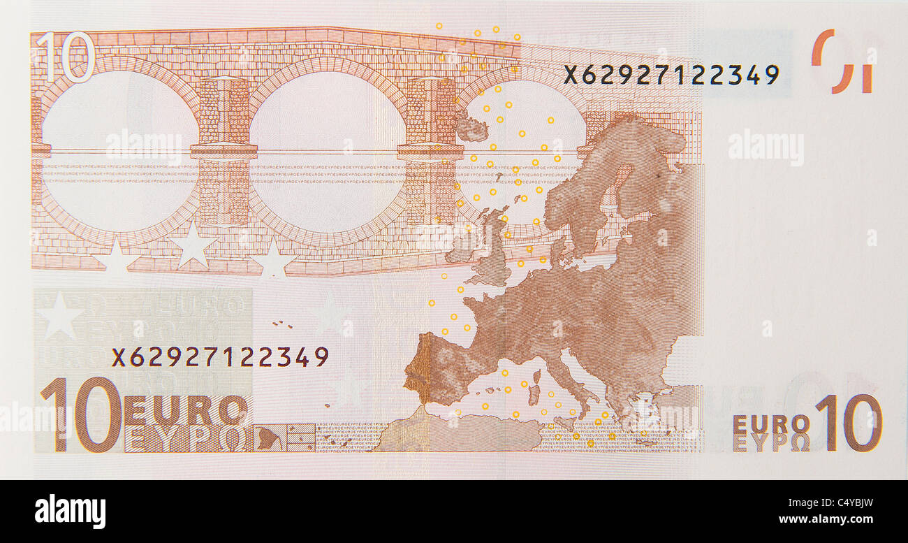 10 ten euro euros note bill - Stock Image