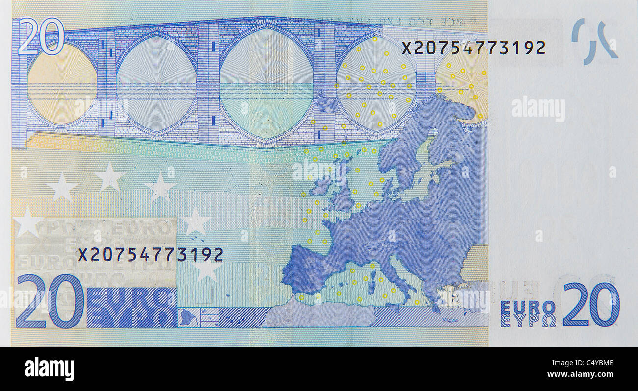 20 twenty euro euros note bill - Stock Image
