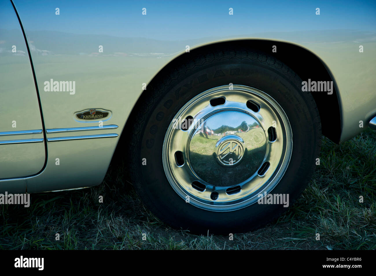 Karman Ghia front wing and wheel, name badge VW - Stock Image