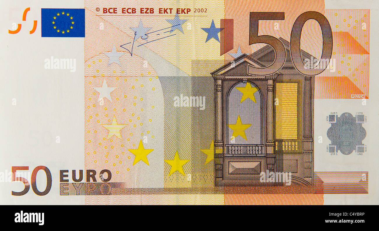 50 fifty euro euros note bill - Stock Image