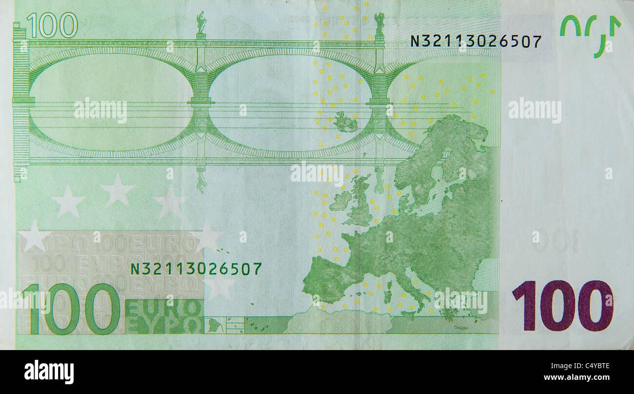 100 'one hundred' euro euros note bill - Stock Image