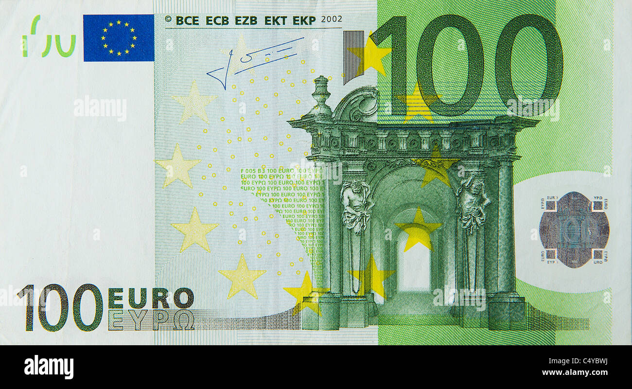 100 One Hundred Euro Euros Note Bill Stock Image