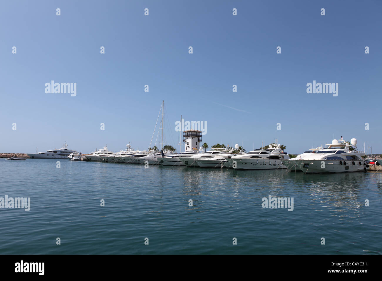 Megayachts berthed in Puerto Portals in Mallorca - Stock Image