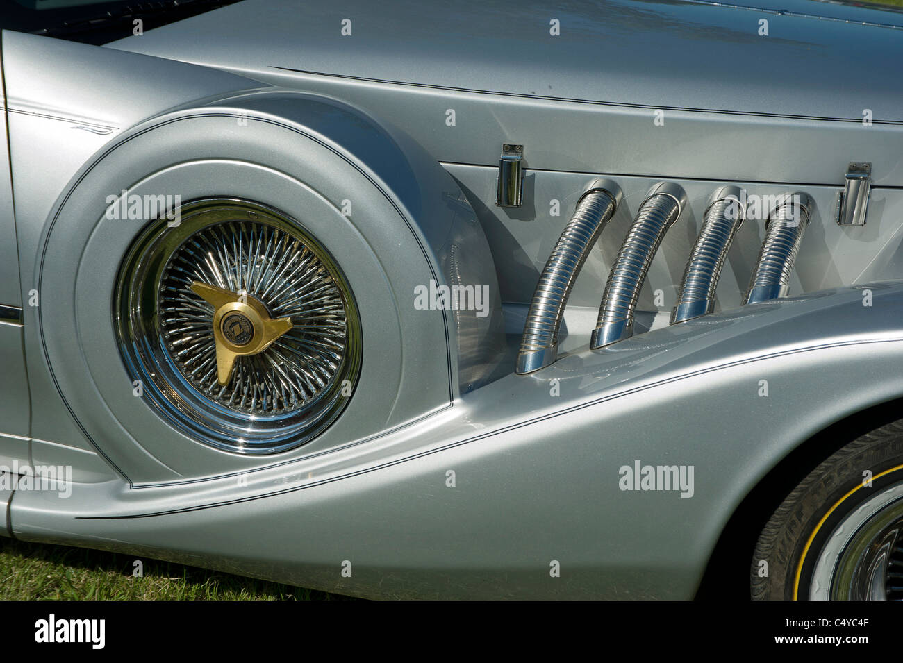 TheZIMMER Golden Spirit motor car spare wheel cover front wing - Stock Image