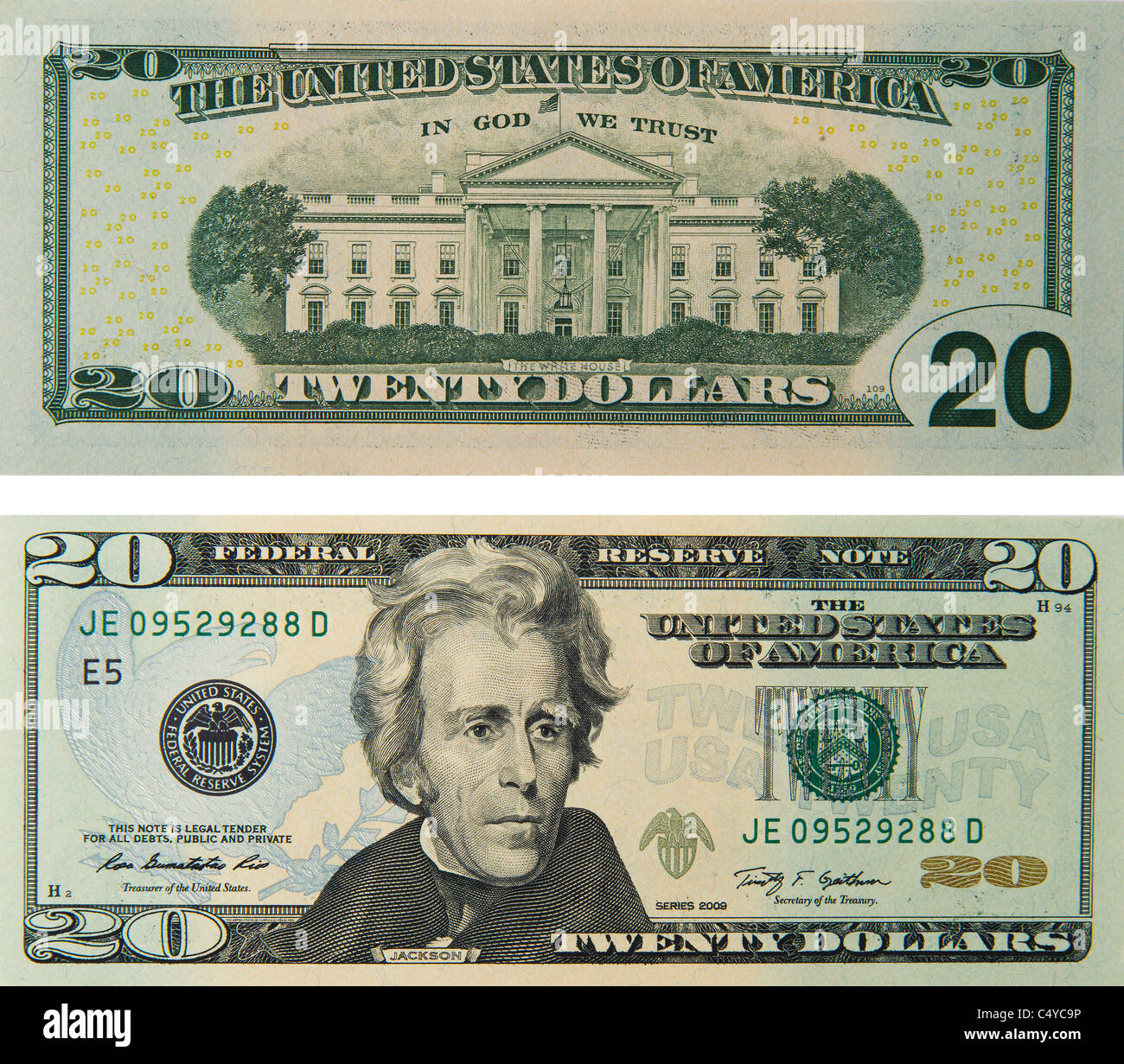 20 twenty dollar bill note bill's note's dollars - Stock Image