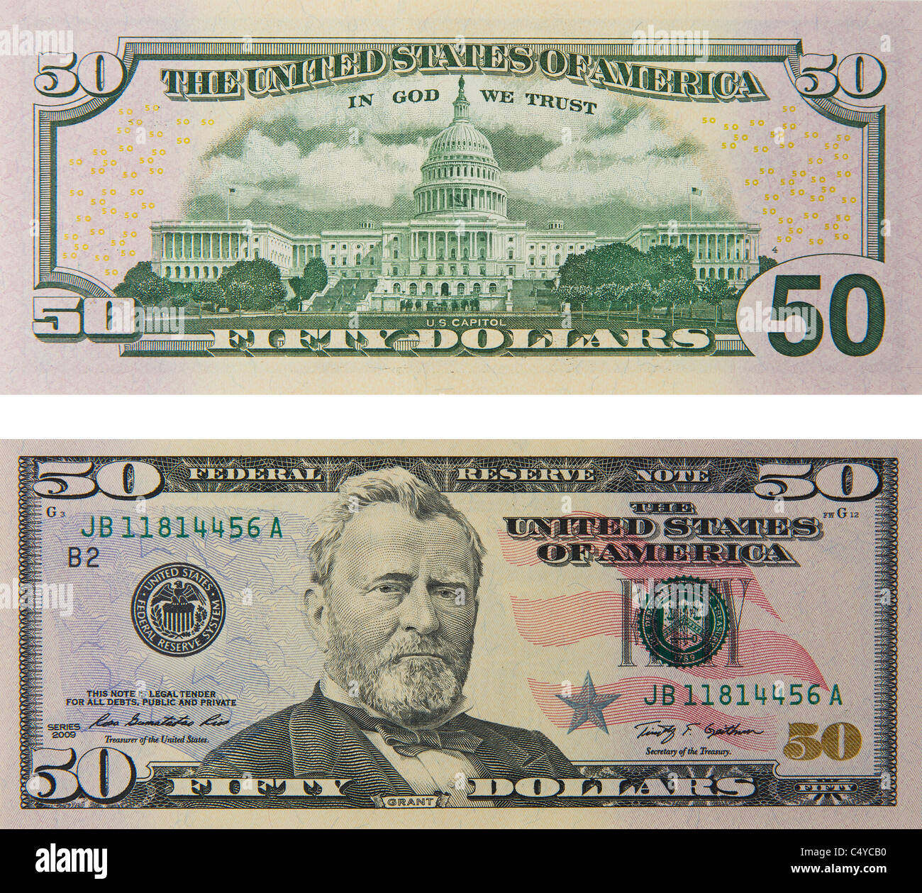 50 fifty dollar bill note bill's note's dollars - Stock Image