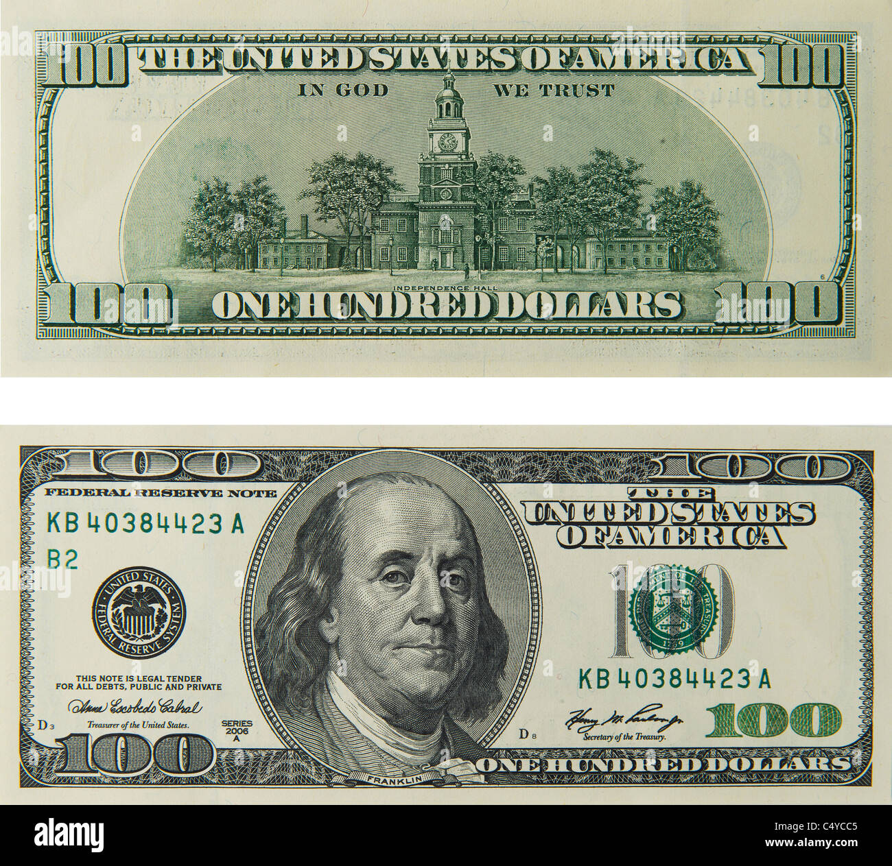 100 'one hundred' dollar bill note bill's note's dollars - Stock Image
