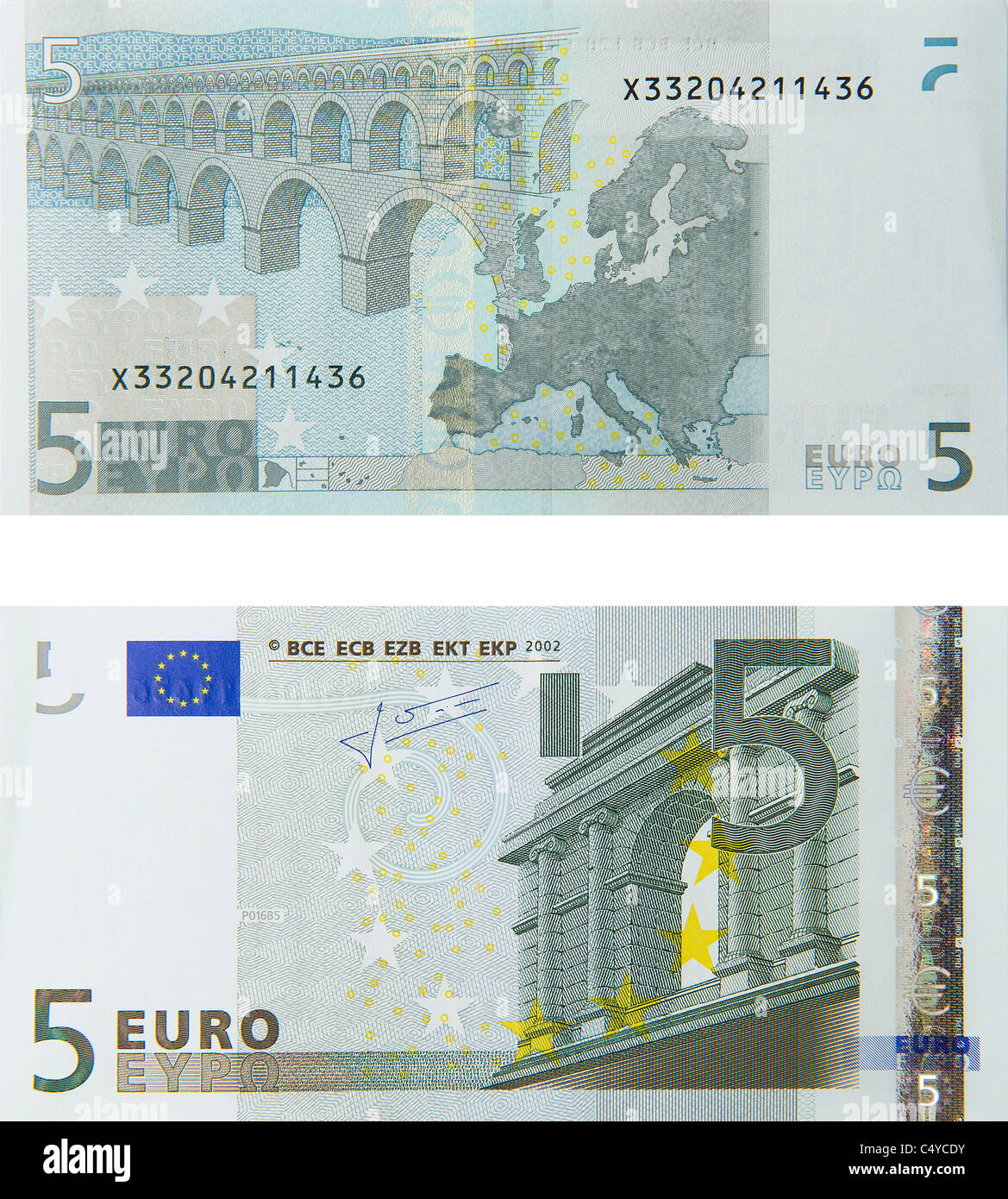 5 Five Euro Note Euros Notes Bill