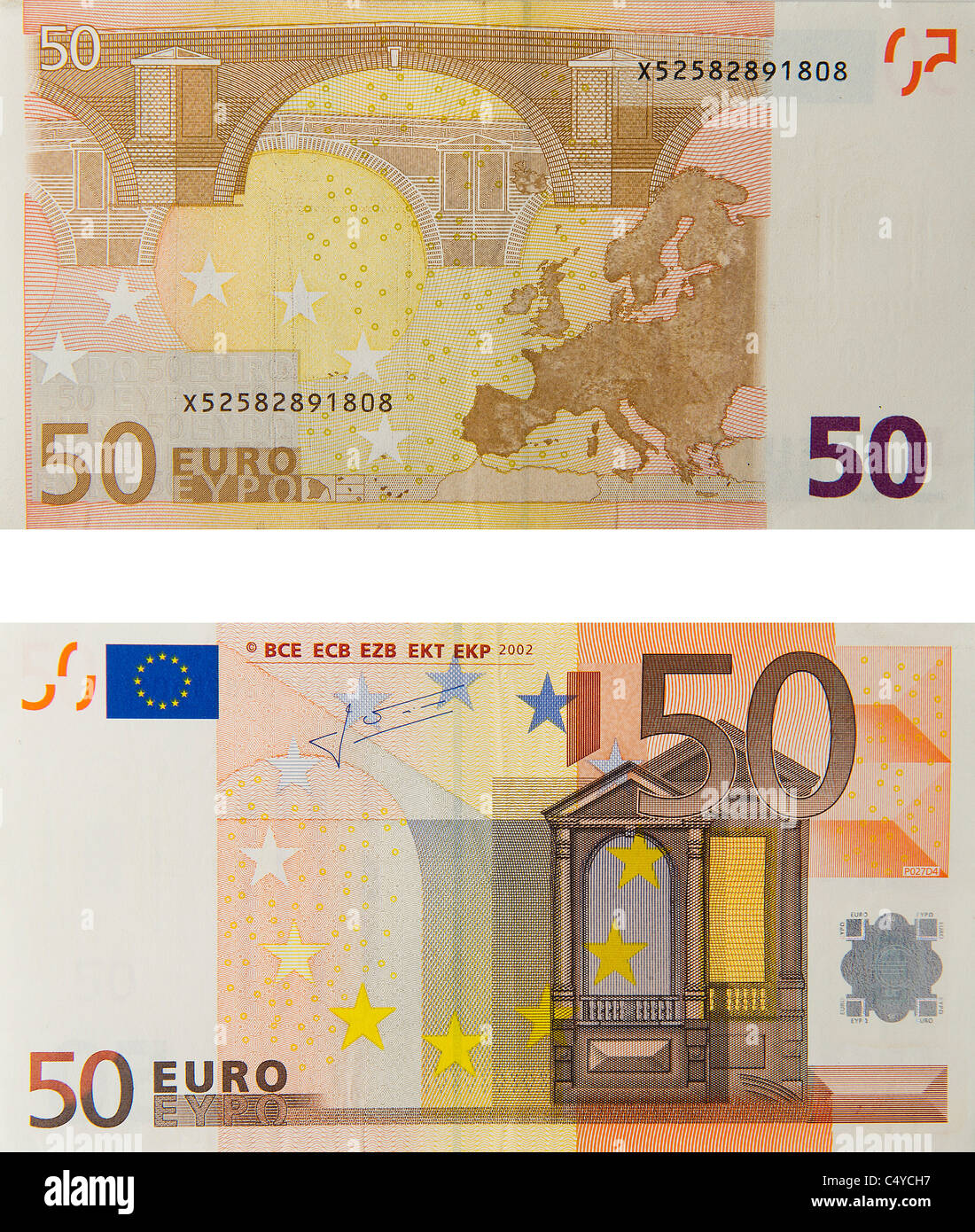50 fifty euro note euros notes bill - Stock Image