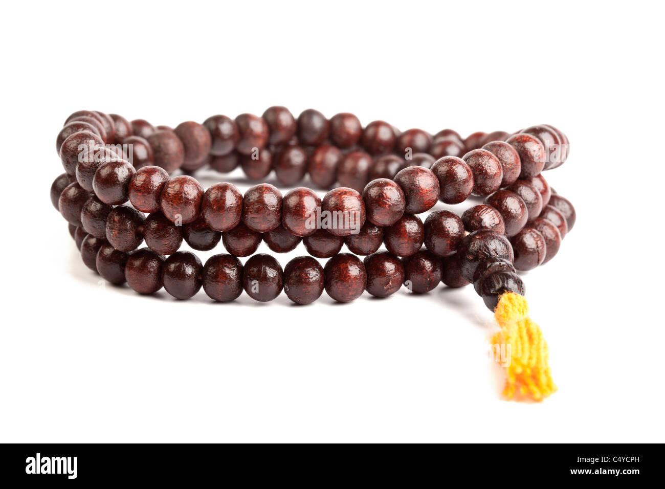 Japa Mala - Buddhist or Hindu prayer beads isolated on white - Stock Image