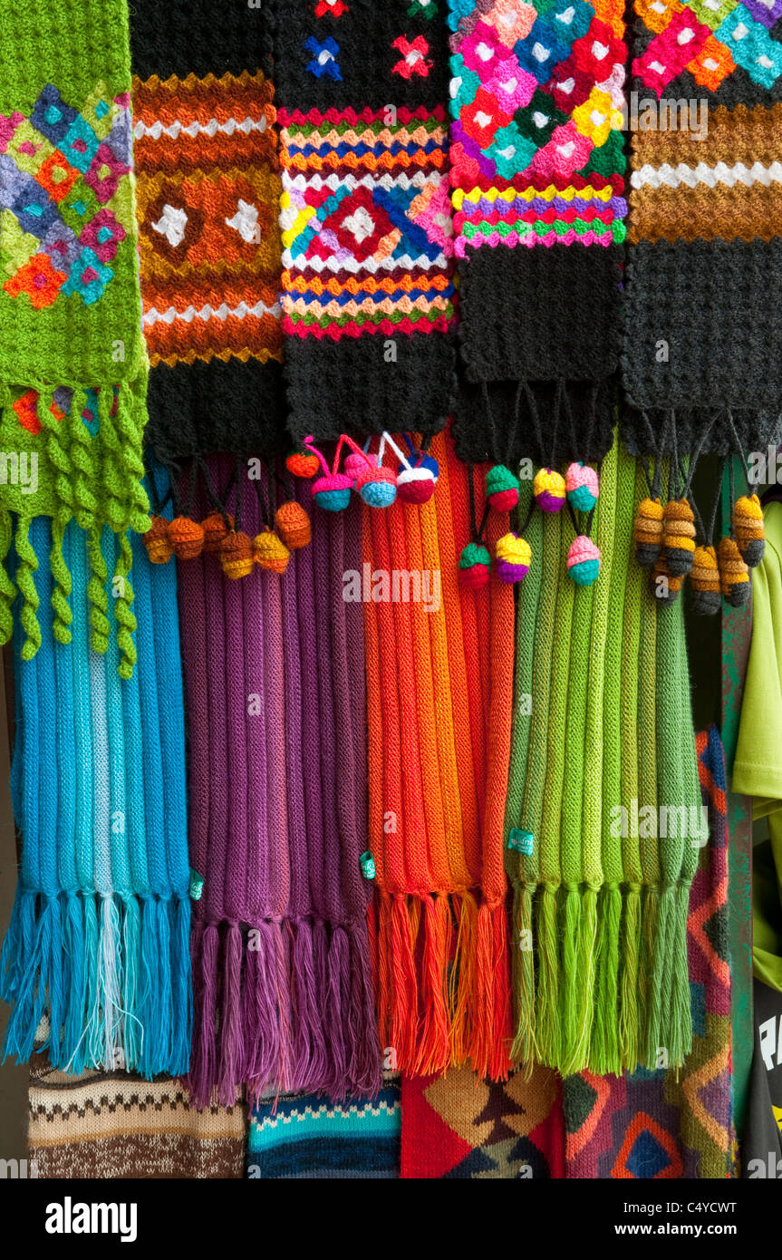 Colorful articles for sale in the shops of Miraflores, Lima, Peru, South America. - Stock Image