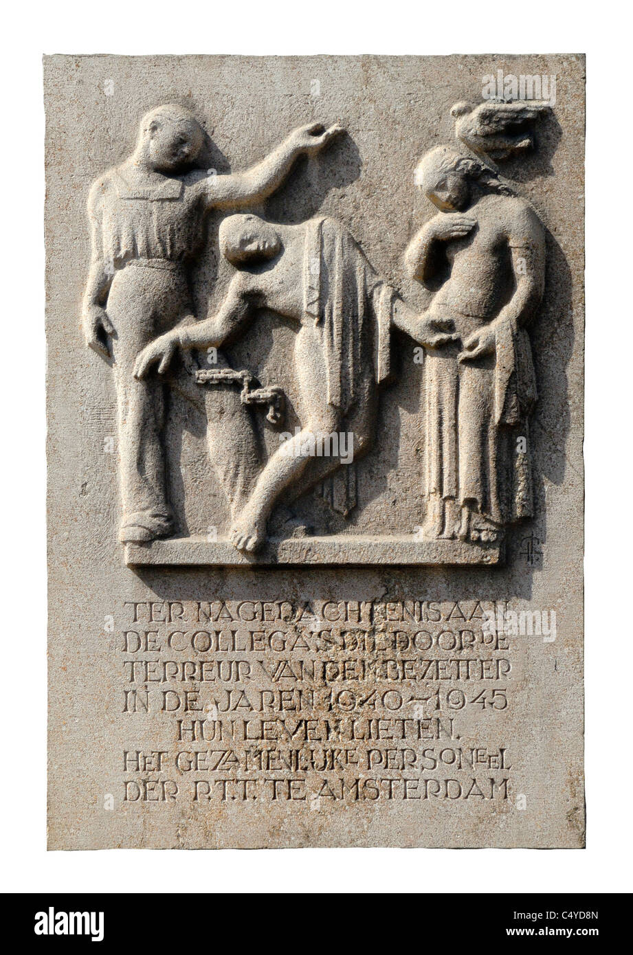 Amsterdam, Netherlands. Memorial on wall of post office on Voorburgwal commemorating colleagues who died in WW2 - Stock Image