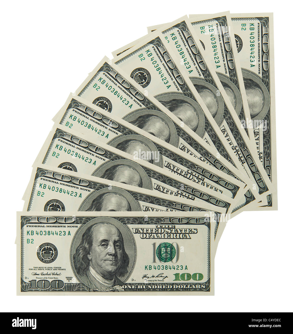 100 'one hundred' dollar bill note bill's note's - Stock Image