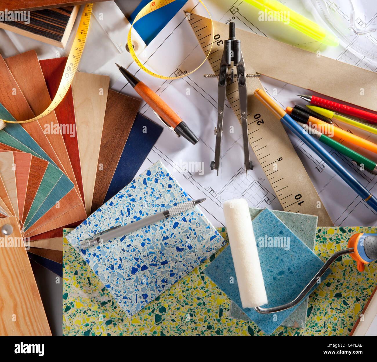 Architect Or Interior Designer Workplace Desk And Design Tools With Stock Photo Alamy