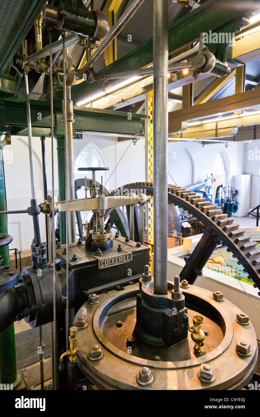 Display of old beam engine at De Cruquius steam powered water pumping station museum, Haarlemmermeer, Holland. JMH5039 - Stock Image