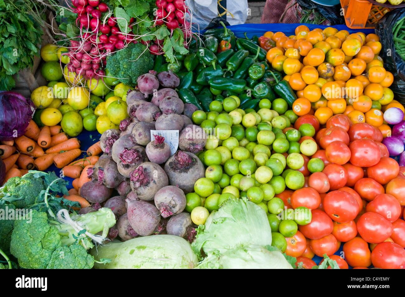 Vegetable market in Otavalo Ecuador - Stock Image