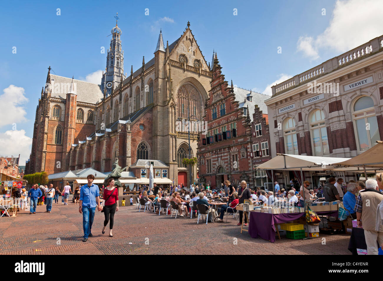 Grote Markt or market place and Sint-Bavokerk, St Bavo Church, or Grote Kerk, Haarlem, North Holland, Netherlands. - Stock Image