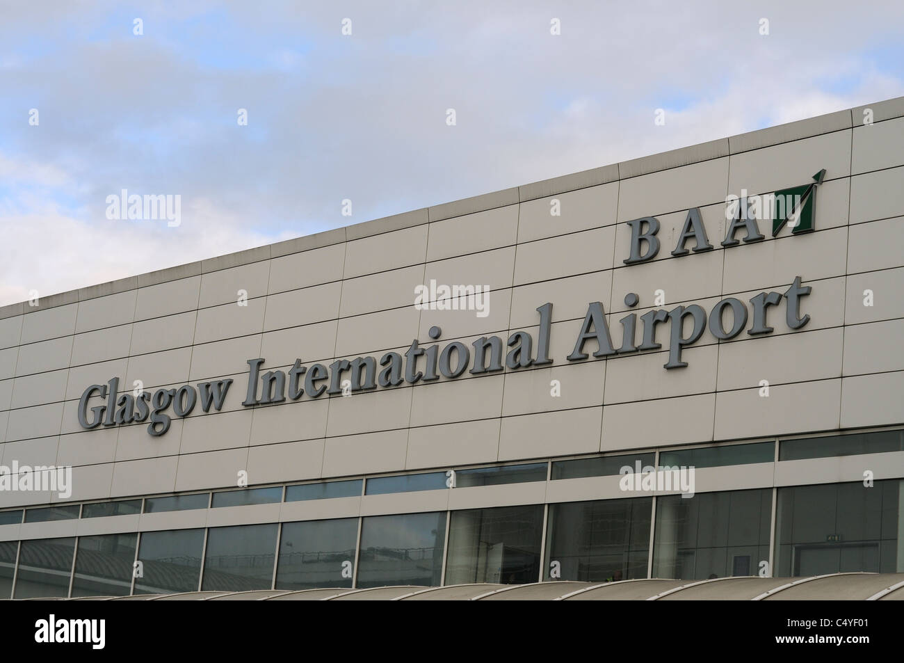 The Exterior Sign For Glasgow International Airport Scotland UK - Stock Image