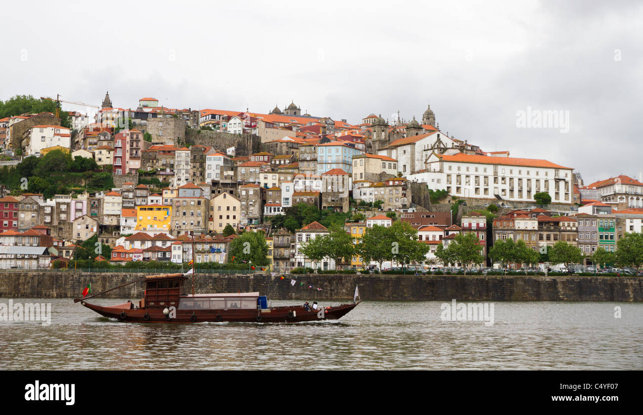 Panorama old Porto at river Duoro,with Port transporting boats, Oporto, Portugal - Stock Image
