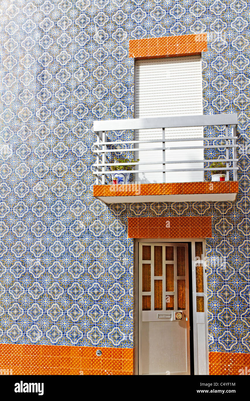 facade of traditional home completely clad with tiles, Portugal - Stock Image