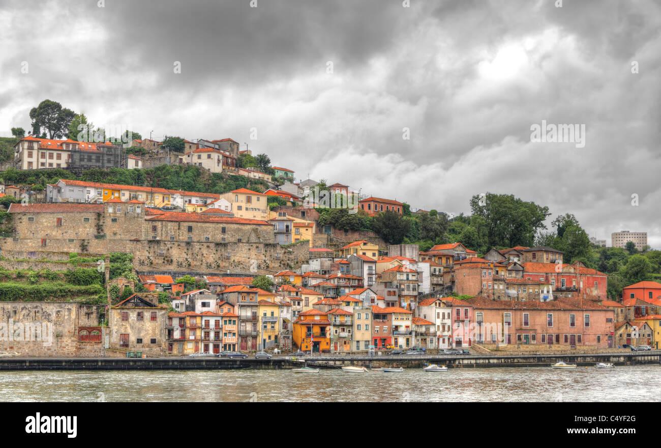 Panorama old Porto at river Duoro,, Oporto, Portugal - Stock Image