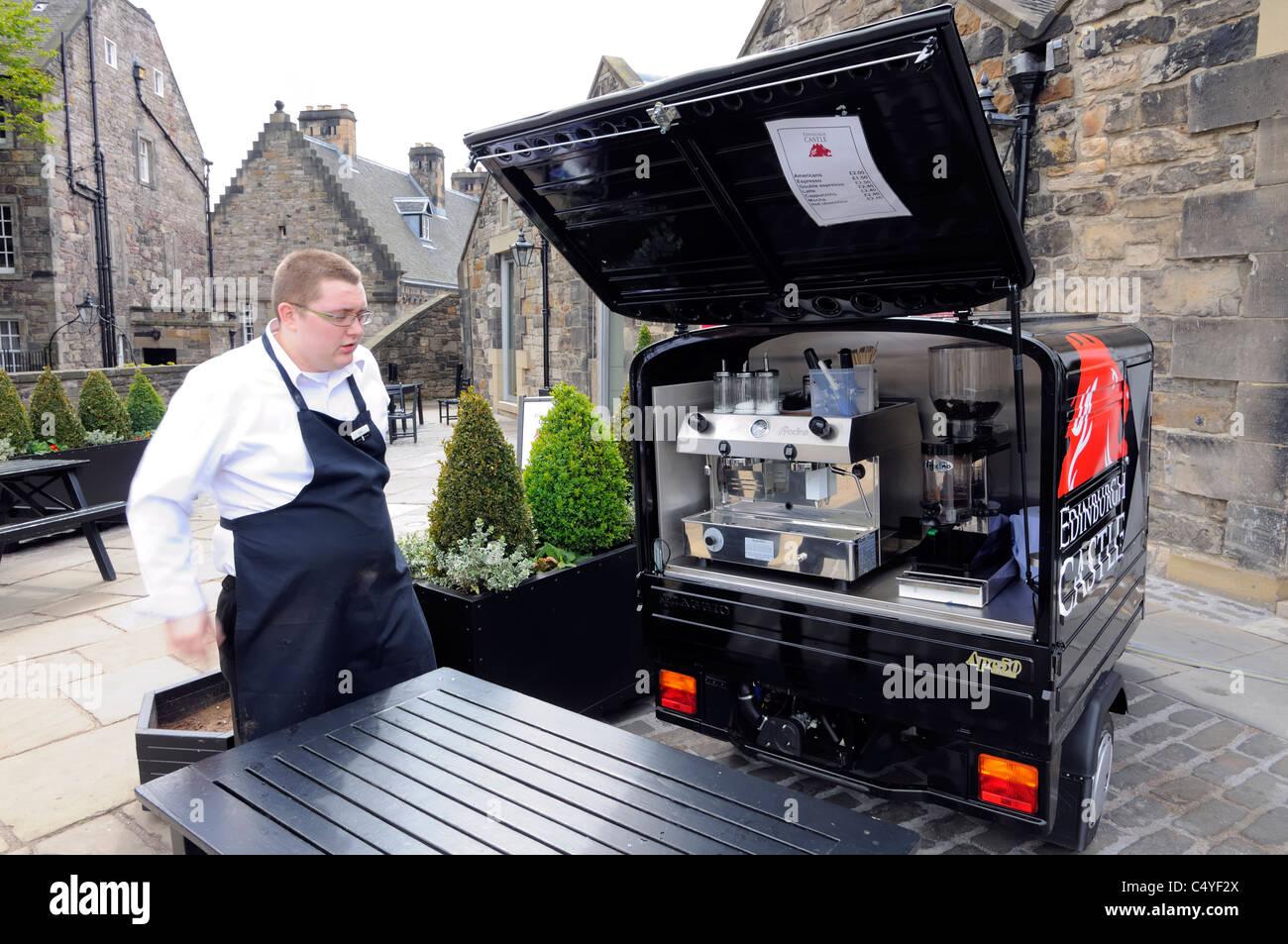 edinburgh castle portable coffee maker in a piaggio ape 50. Black Bedroom Furniture Sets. Home Design Ideas