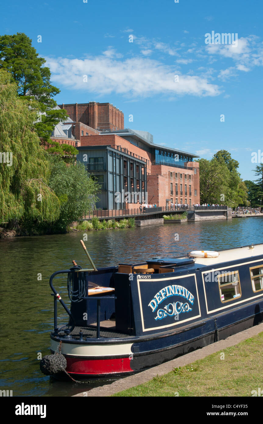 The river Avon in Stratford, with Swan theatre in Background. UK - Stock Image