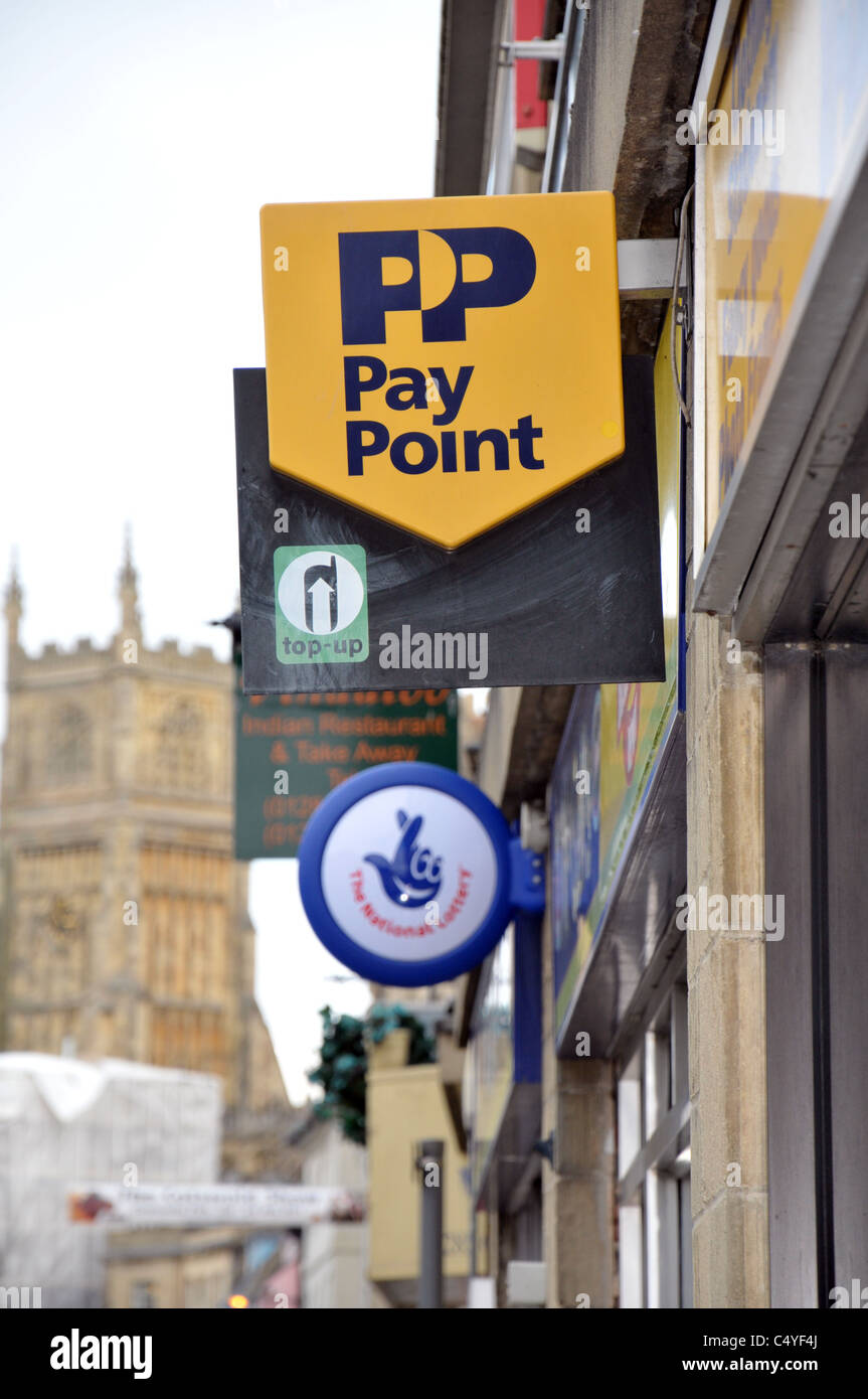 Paypoint sign outside a convenience store in cirencester