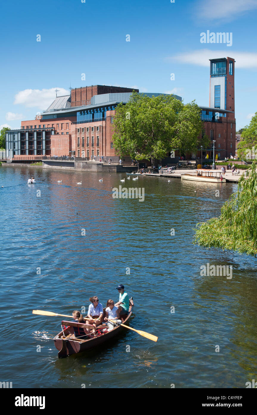 The Swan theatre over the river Avon at Stratford, England. - Stock Image