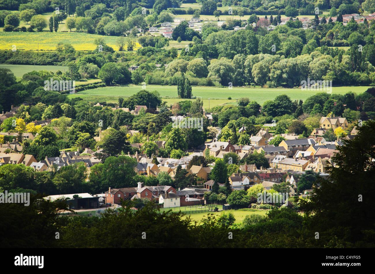 cotswold village cotswolds villages glocestershire - Stock Image