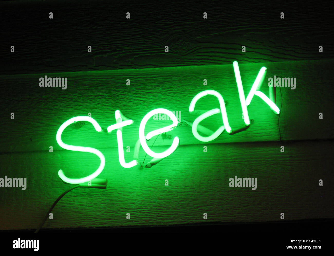 NEON SIGN - Steak - Stock Image