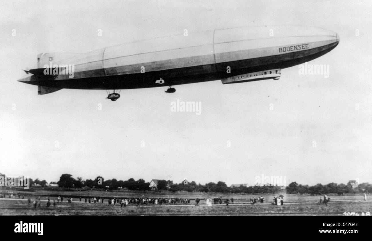 "Airship ""Bodensee,"" making daily flight from Berlin to Friedrichschafen, Germany Stock Photo"