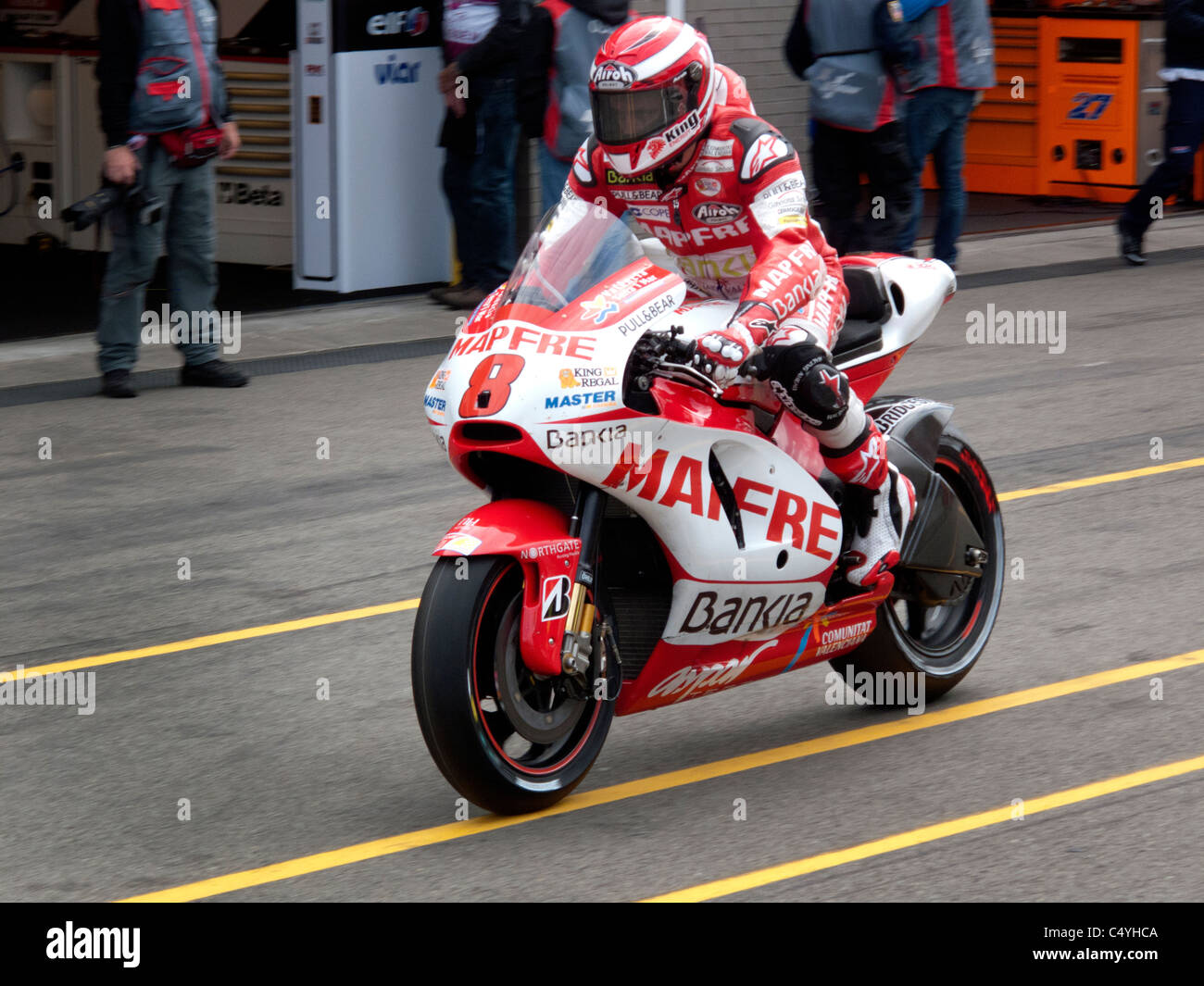 Garry McCoy in the pit lane Assen Moto GP 2011 - Stock Image