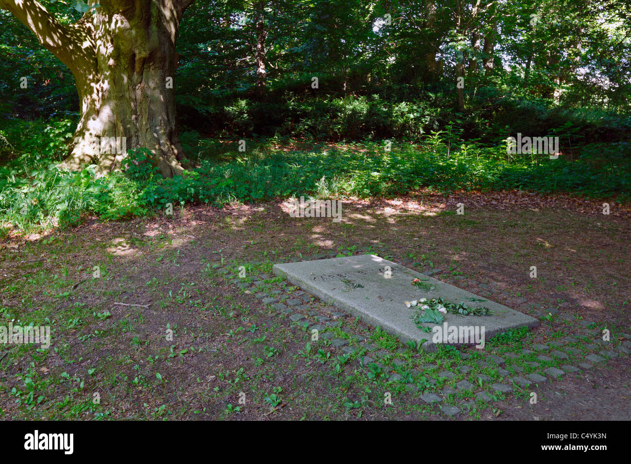 The grave of Karen Blixen in the woods of Rungstedlund in Rungsted, Denmark - Stock Image