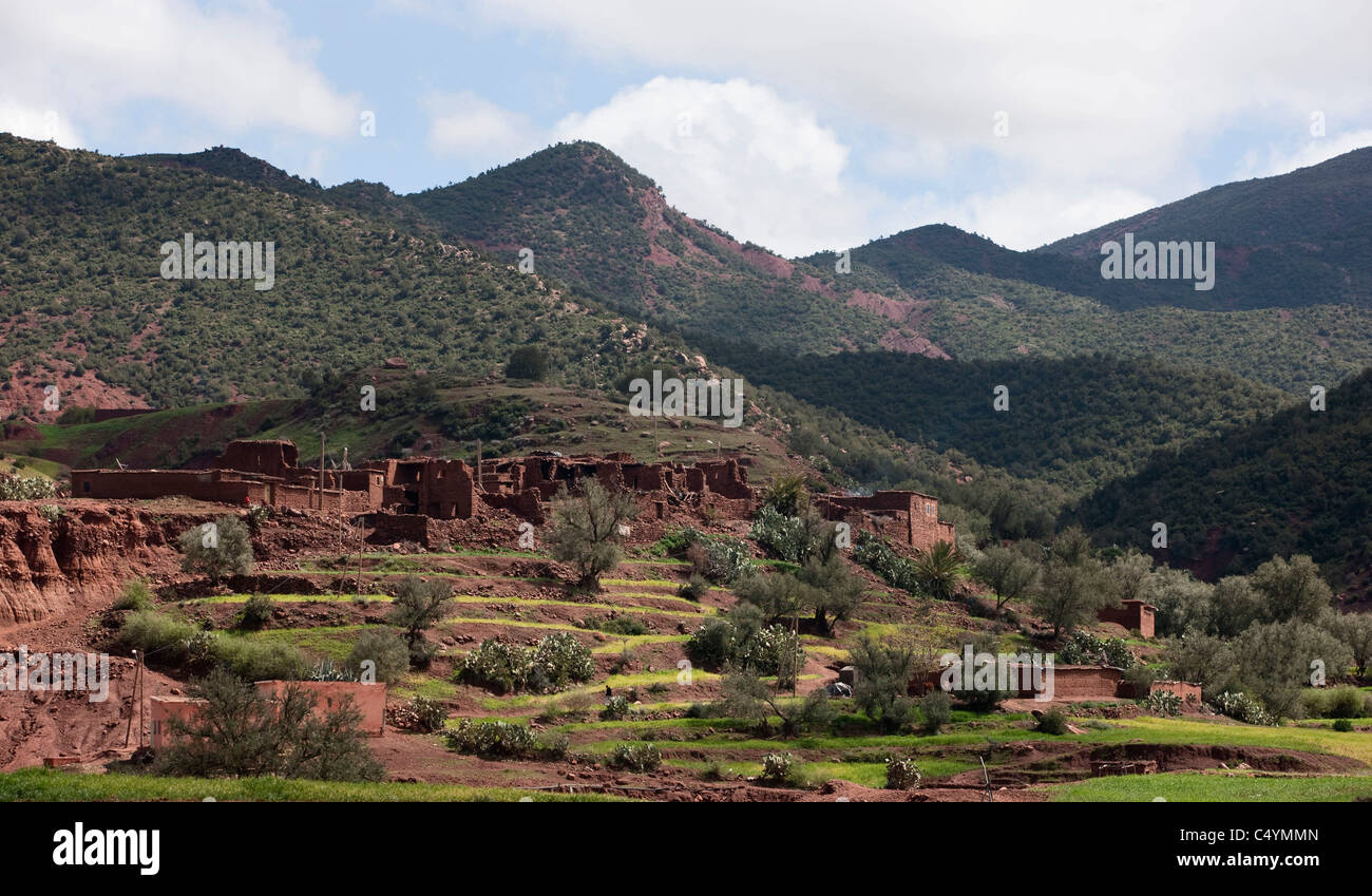 The traditional Berber village of Tagadirt. Ourika valley, Morocco. - Stock Image