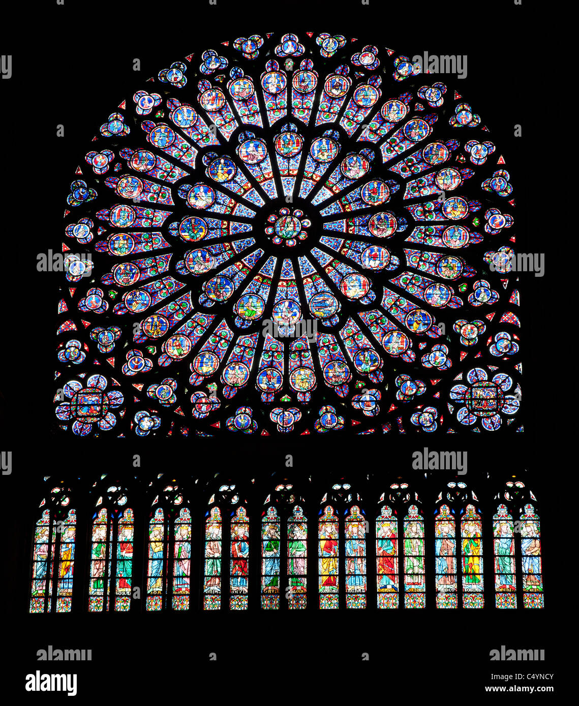 Paris - rosette in Notre-Dame cathedral - Stock Image