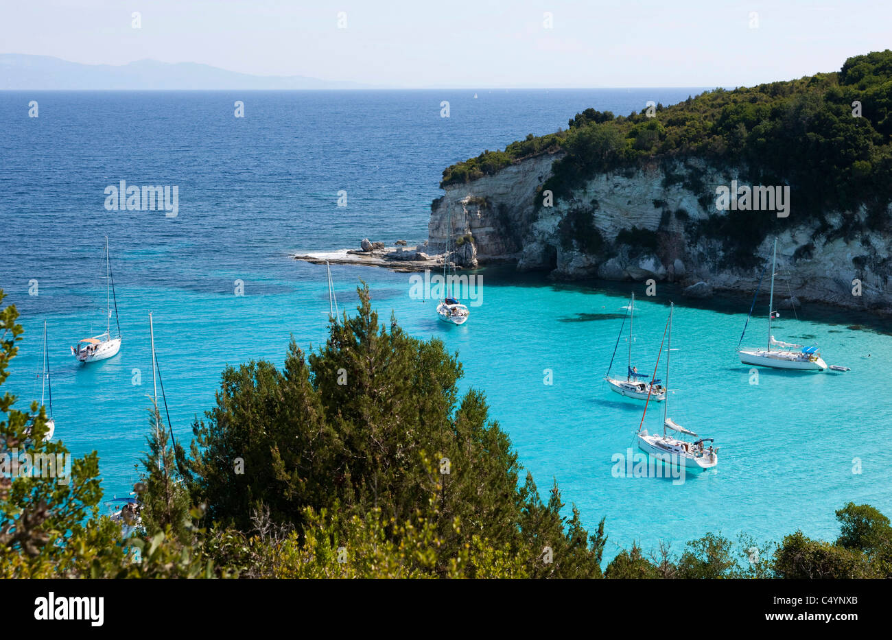 Voutoumi bay with its crystal clear blue water. AntiPaxos, Greece. - Stock Image