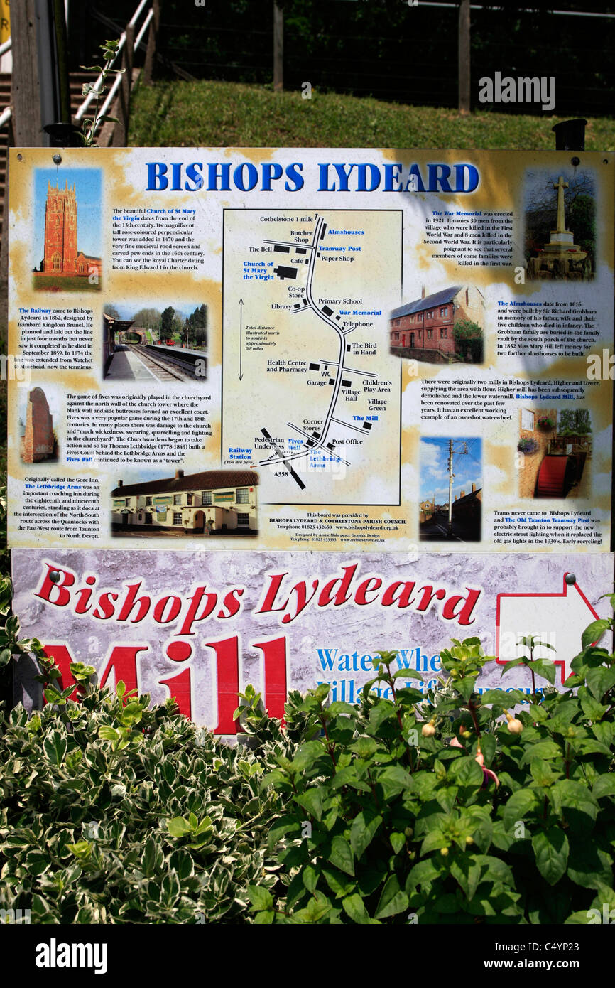 Bishops Lydeard Village Map In Somerset Uk Stock Photo