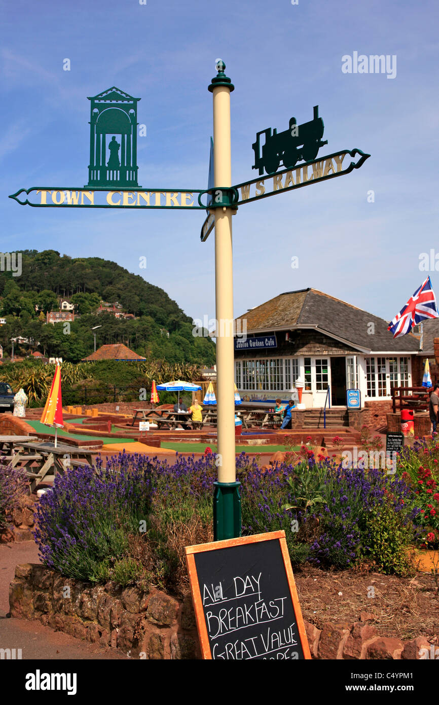 1930s signpost in Minehead Somerset - Stock Image