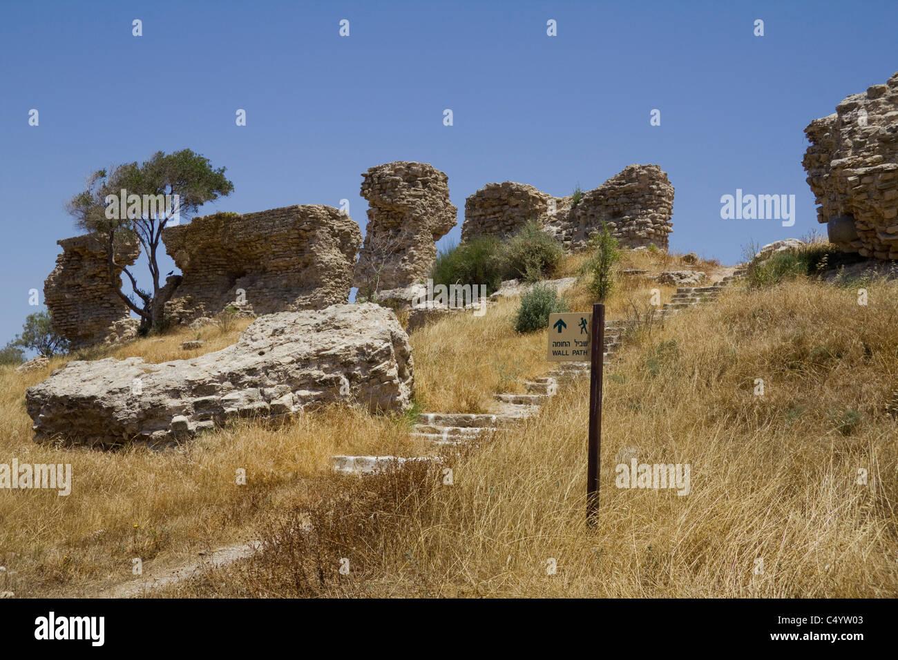 Canaanite fortifications Ashqelon Ashkelon National Park, Israel - Stock Image