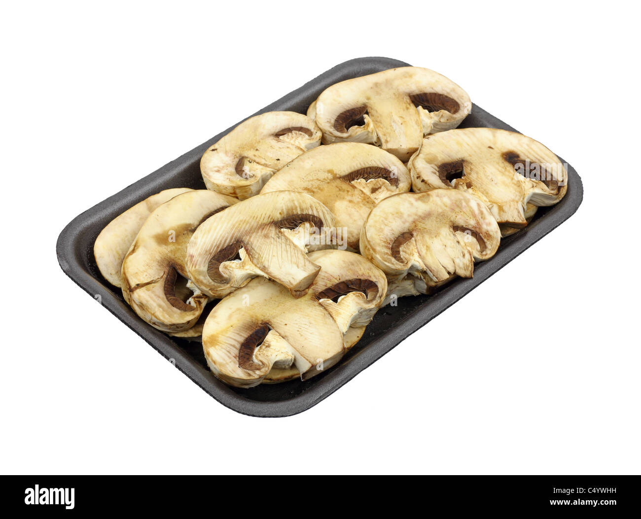 Thick sliced mushrooms - Stock Image