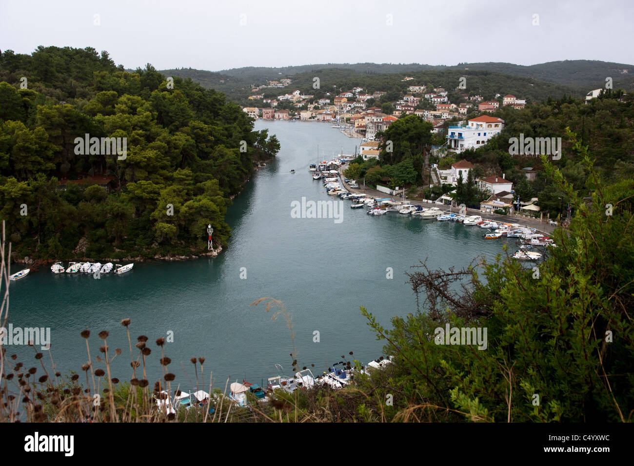 Gaios harbour on a rainy summer day. Paxos, Greece. - Stock Image