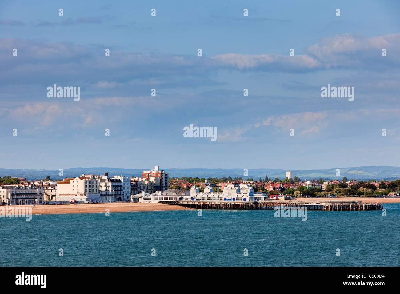 Southsea Pier and Beach, Portsmouth, England UK - Stock Image